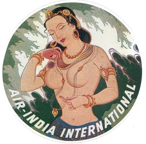Air India vintage luggage label