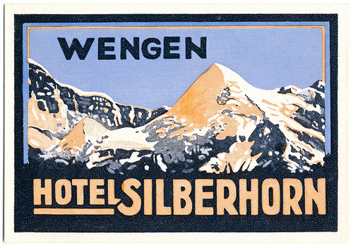 Mountains and Ski Vintage Travel Labels - VINTRALAB-019