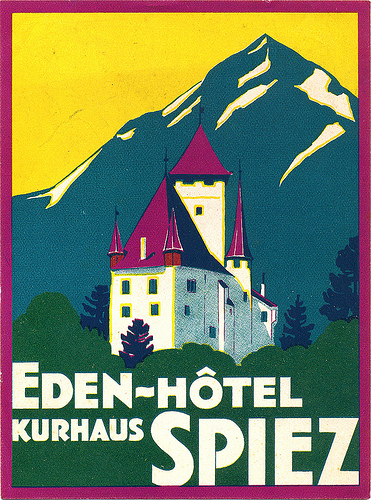 Mountains and Ski Vintage Travel Labels - VINTRALAB-021