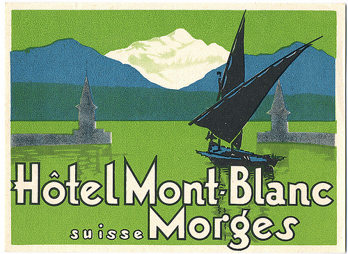 Mountains and Ski Vintage Travel Labels - VINTRALAB-023