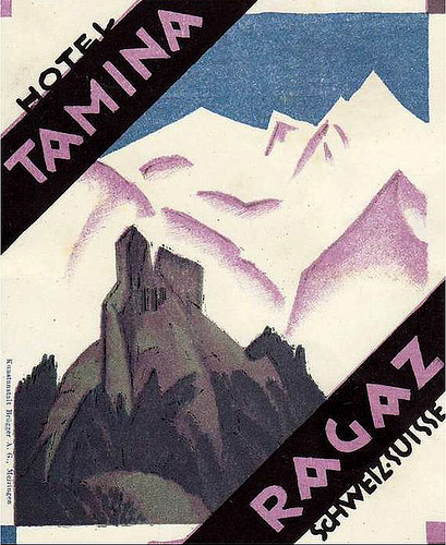 Mountains and Ski Vintage Travel Labels - VINTRALAB-031