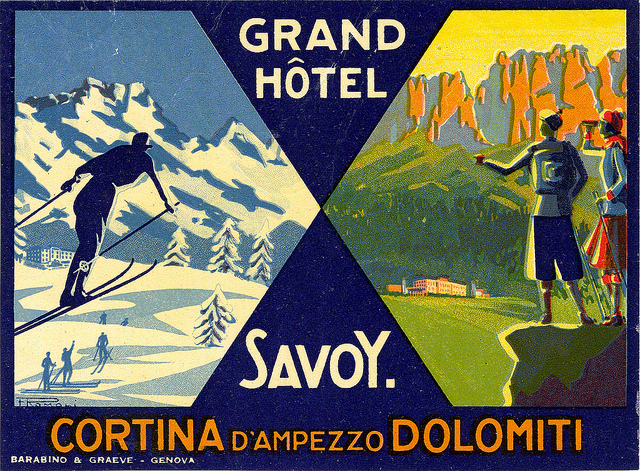 Mountains and Ski Vintage Travel Labels - VINTRALAB-032