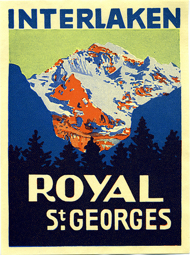Mountains and Ski Vintage Travel Labels - VINTRALAB-049