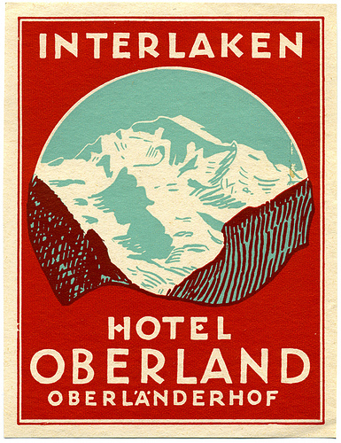 Mountains and Ski Vintage Travel Labels - VINTRALAB-051