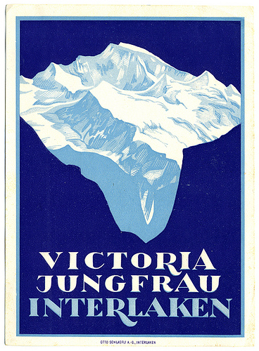 Mountains and Ski Vintage Travel Labels - VINTRALAB-052