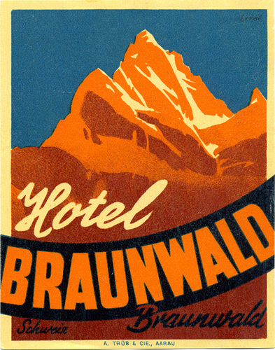 Mountains and Ski Vintage Travel Labels - VINTRALAB-058