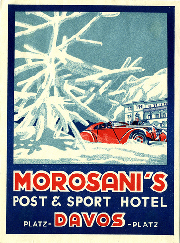 Mountains and Ski Vintage Travel Labels - VINTRALAB-059