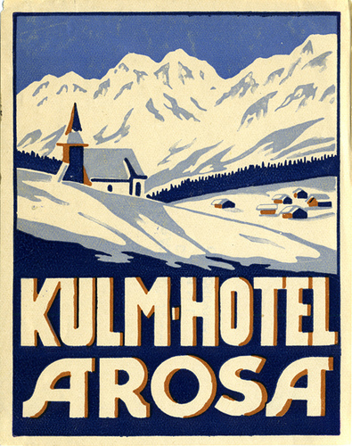 Mountains and Ski Vintage Travel Labels - VINTRALAB-061
