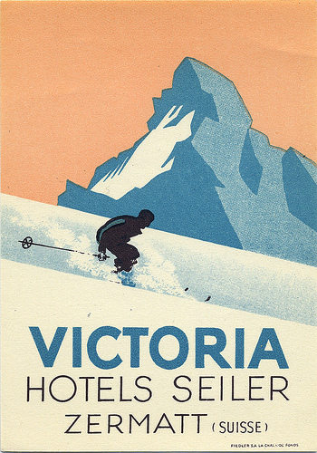 Mountains and Ski Vintage Travel Labels - VINTRALAB-065