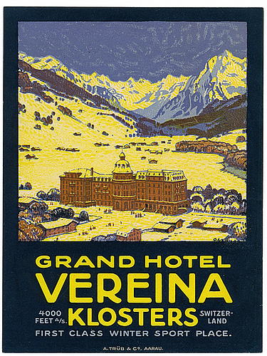 Mountains and Ski Vintage Travel Labels - VINTRALAB-069
