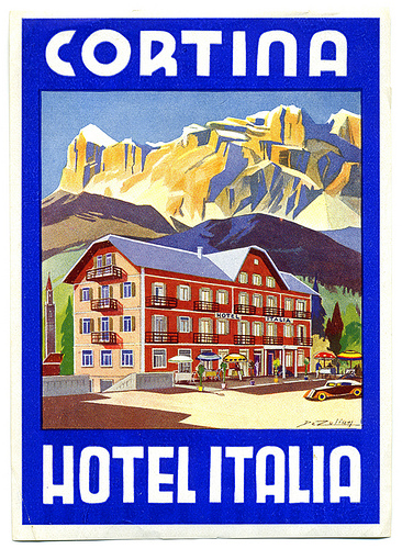 Mountains and Ski Vintage Travel Labels - VINTRALAB-073