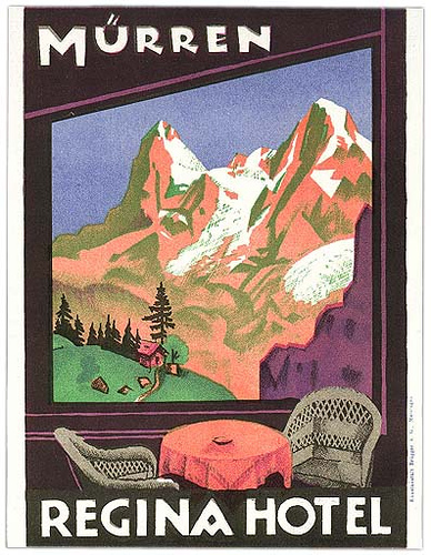 Mountains and Ski Vintage Travel Labels - VINTRALAB-078