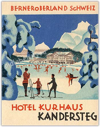 Mountains and Ski Vintage Travel Labels - VINTRALAB-080