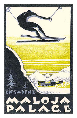 Mountains and Ski Vintage Travel Labels - VINTRALAB-083