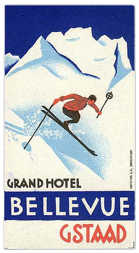 Mountains and Ski Vintage Travel Labels - VINTRALAB-084