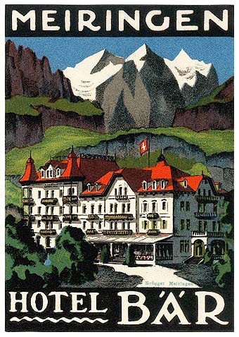 Mountains and Ski Vintage Travel Labels - VINTRALAB-085