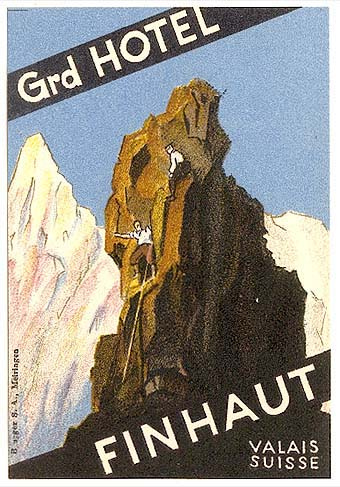 Mountains and Ski Vintage Travel Labels - VINTRALAB-096