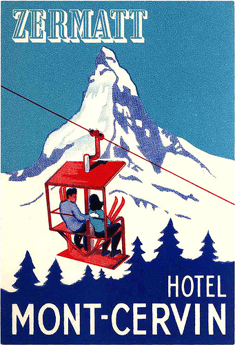 Mountains and Ski Vintage Travel Labels - VINTRALAB-100