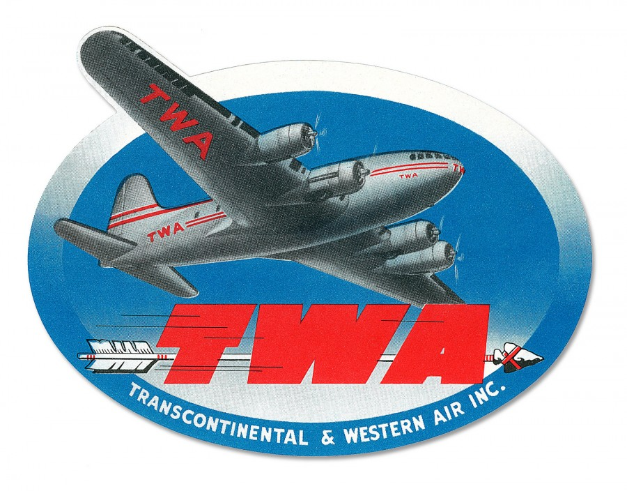 TWA vintage travel label