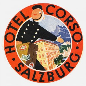 Austria and Germany vintage luggage label