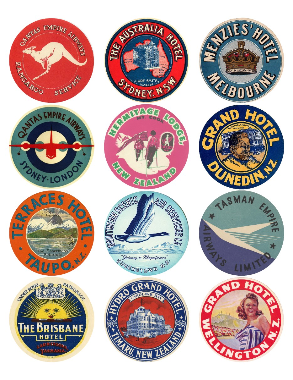 Vintage Travel Labels - Autralia, NZ, Tasmania