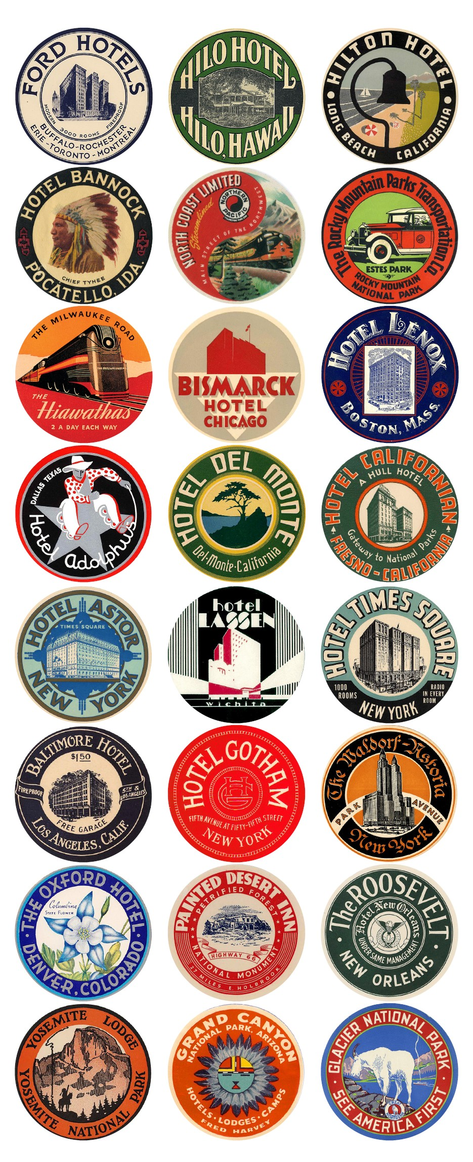 Vintage Travel Labels - US