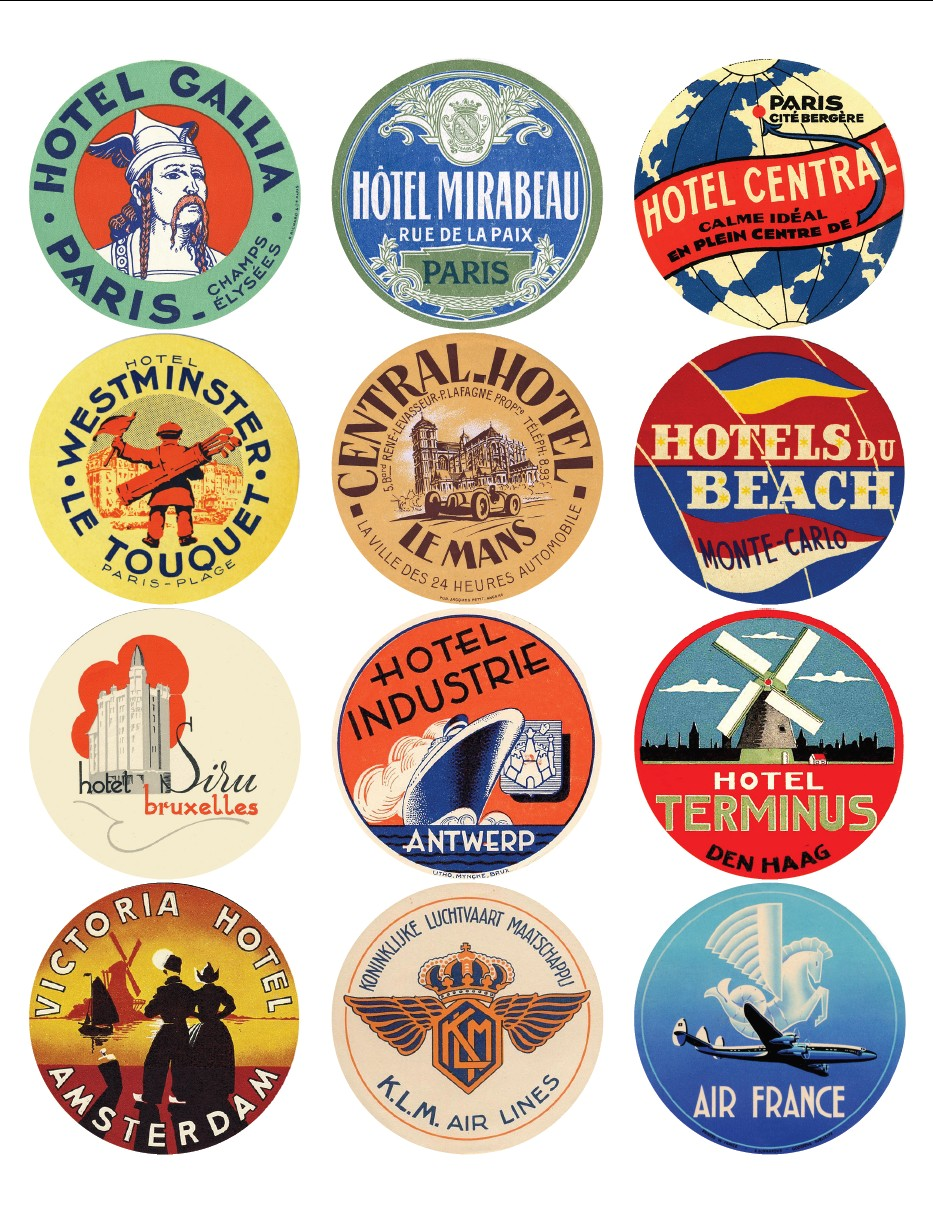 Vintage travel labels - France, Belgium, Netherlands