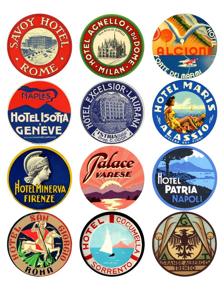 12x Vintage Travel Stickers Italy Mix Vintralab