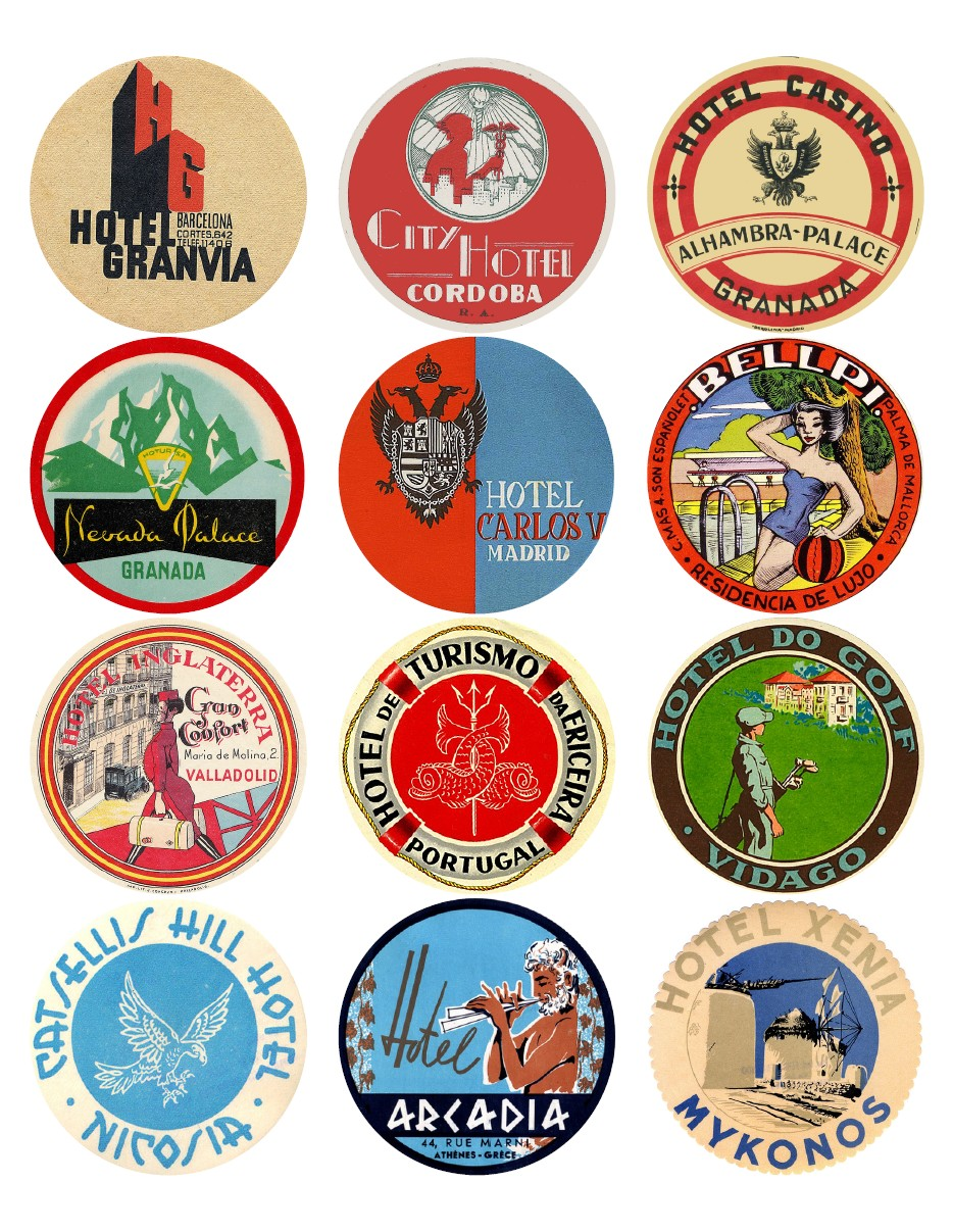 Vintage travel labels - Spain, Portugal, Cyprus, Greece