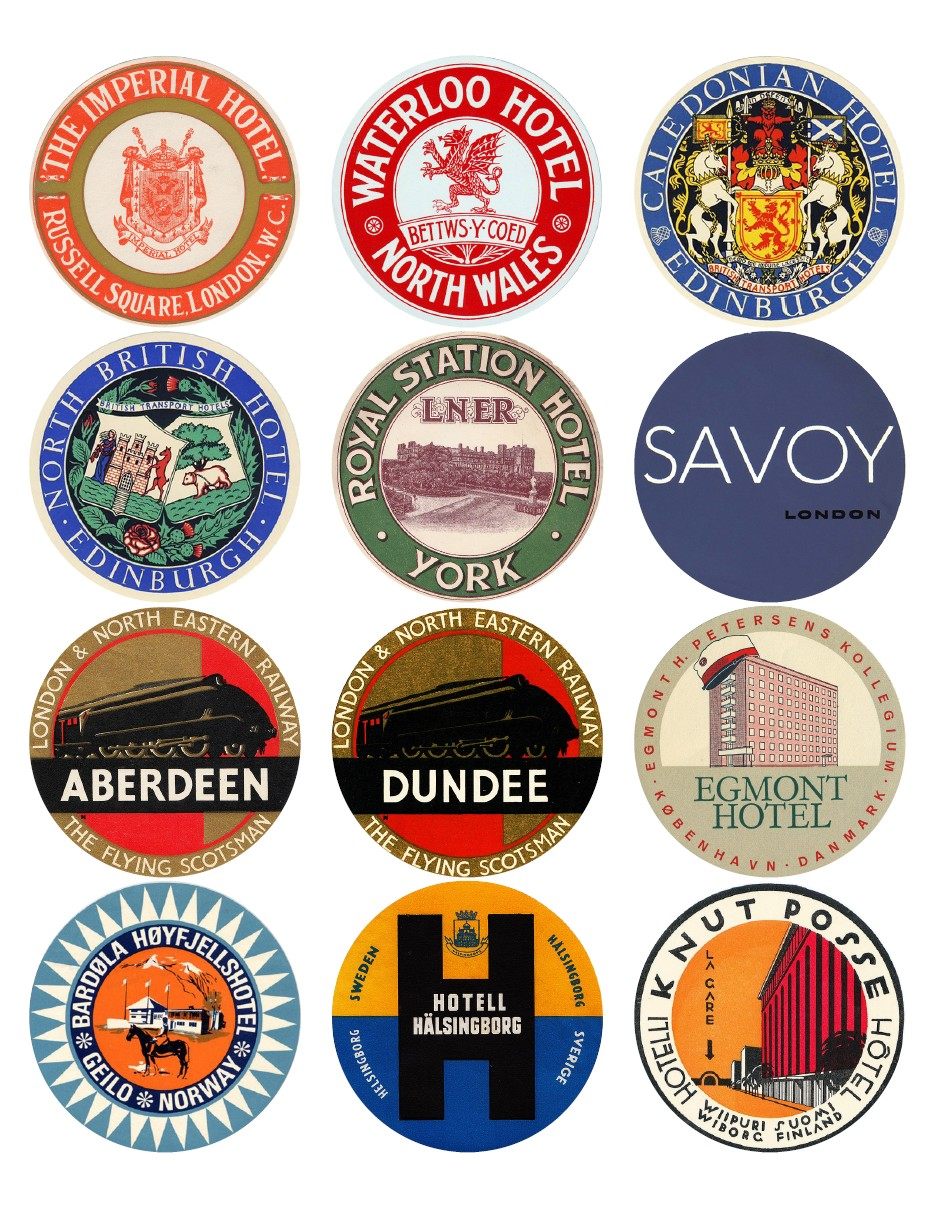 Vintage travel labels - UK, Scandinavia