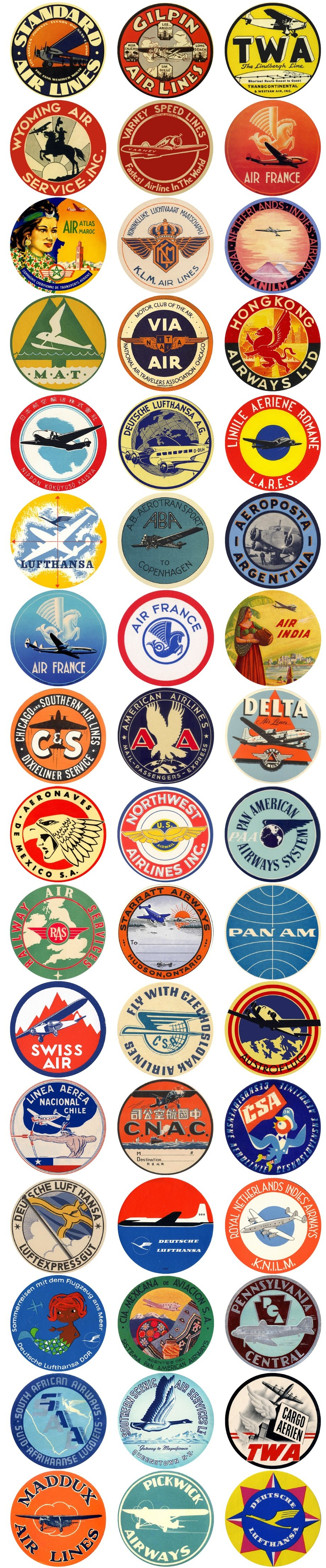A mix of air transport and airlines vintage travel labels